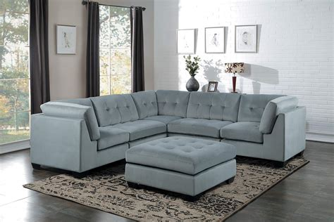 Homelegance Savarin Sectional Sofa Set Light Gray Fabric Light Gray Sectional Sofa