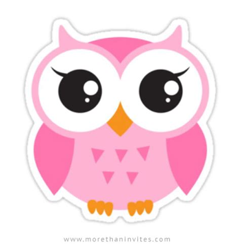 Vinyl Wall Stickers by Cute Pink Owl Sticker More Than Invites