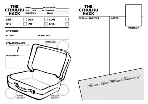 Gumshoe Records Resources The Cthulhu Hack Character Sheet Just Crunch Rpgnow