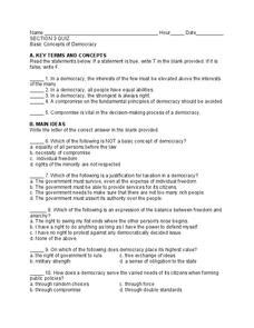 basic concepts of democracy worksheet for 10th 12th