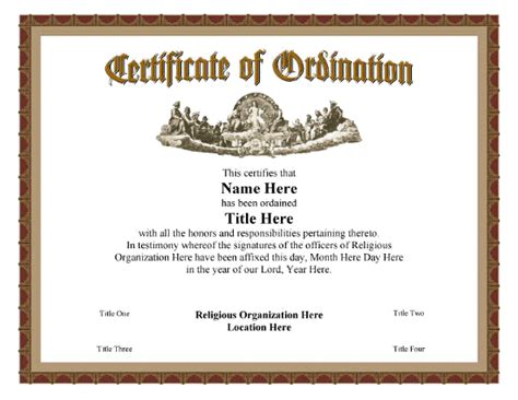 ordination certificate templates certificate of ordination vintage