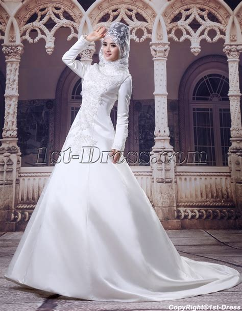 islamic plus size modest wedding dresses high neckline modest sleeves islamic wedding gown 1st