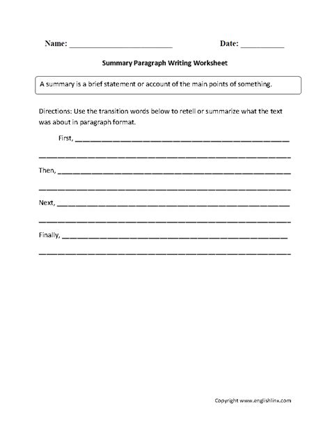 Writing A Summary Worksheet by Summary Writing Worksheets For Grade 5 Summarizing