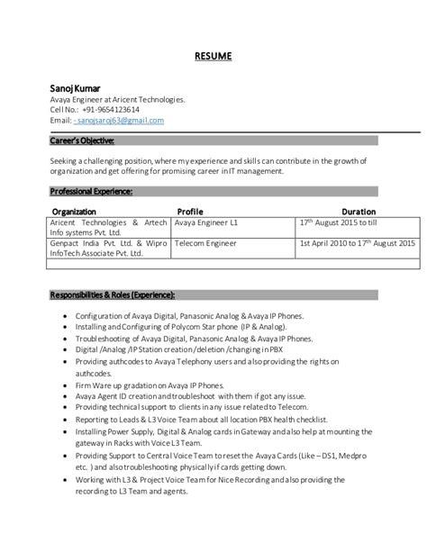 sanoj kumar resume 1