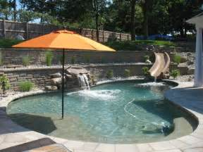 Small Deck Ideas For Small Backyards Wind Resistant Fiberglass Umbrellas In The Backyard