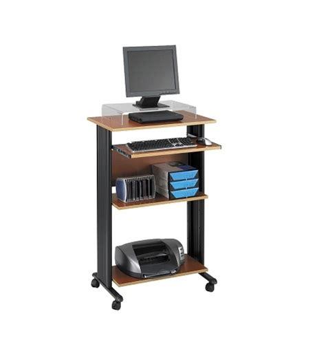 standing desk shelf mobile standing desk with slide out shelf