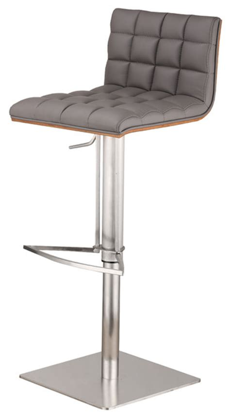 stainless steel bar stools with backs oslo adjustable brushed stainless steel bar stool pu with