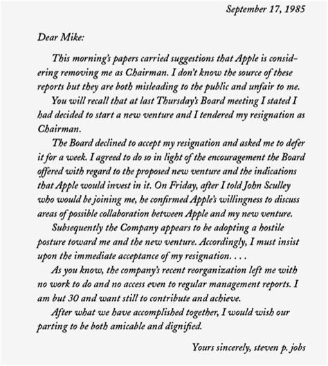 day   steve jobs submits resignation letter