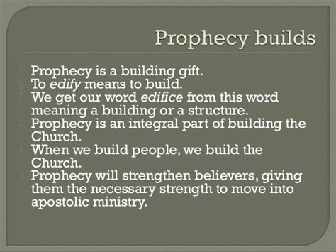 prophecy is for edification exhortation and comfort the building of modern day antioch styled churches