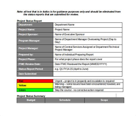 monthly status report template project management 19 monthly report template free sle exle format