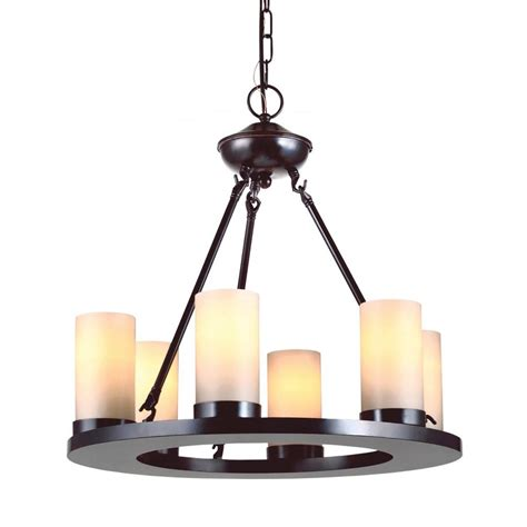 Candle Light Chandelier Shop Sea Gull Lighting Ellington 21 In 6 Light Burnt Rustic Tinted Glass Candle