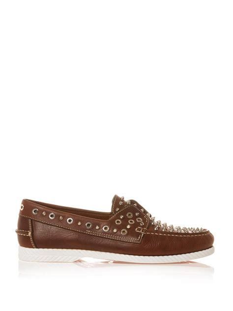 christian louboutin king leather boat shoes in brown for