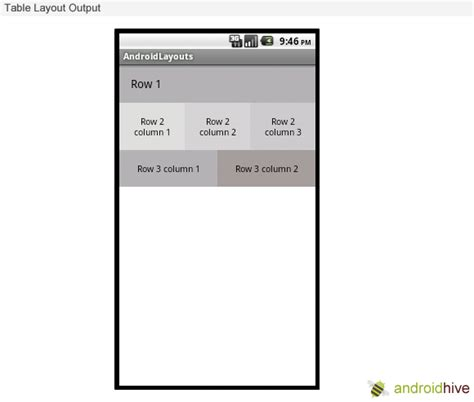 table layout in android exle android layouts linear layout relative layout and table