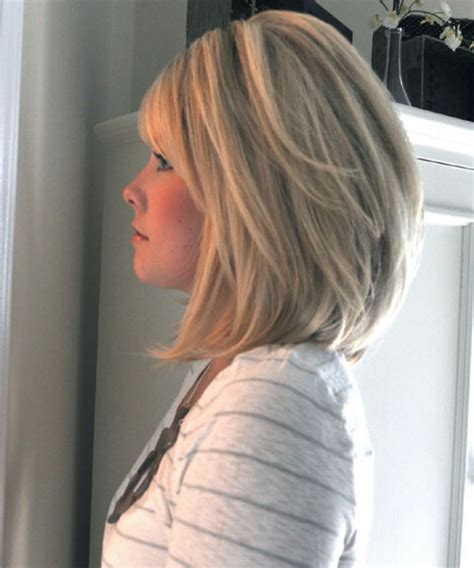stacked layered bob haircut for oval faces long stacked bob with bangs hairstyle for women man