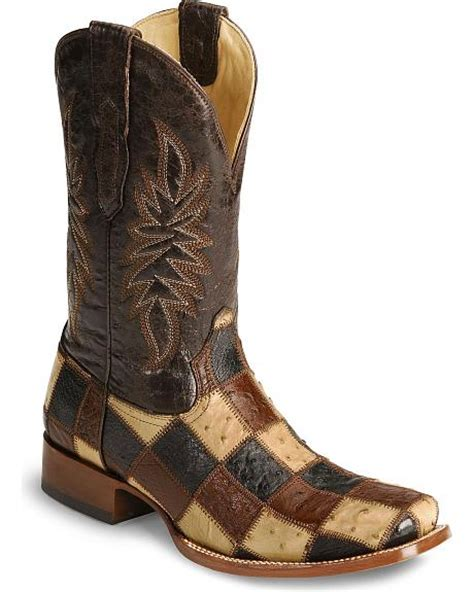 Corral Patchwork Boots - corral ostrich patchwork cowboy boots sheplers