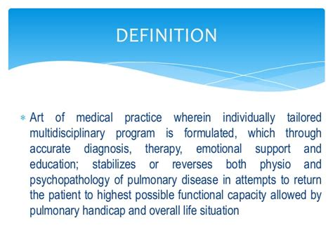 Detox Therapy Meaning by Pulmonary Rehabilitation Pptx