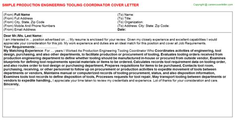 Tooling Design Engineer Cover Letter by Production Engineering Tooling Coordinator Cover Letter Sle