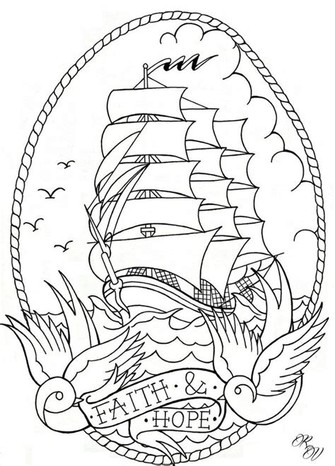 ship tattoo design flash by poizonink on deviantart