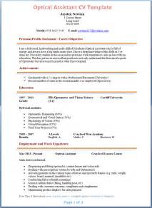 Cover Letter For Optical Assistant by Optical Assistant Cv Exle