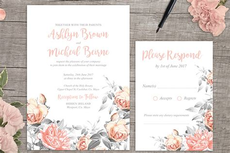 free printable wedding templates for invitations rosa free floral wedding invitation printable
