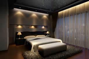 Elegant dark master bedroom design with dark hard wood floor dark