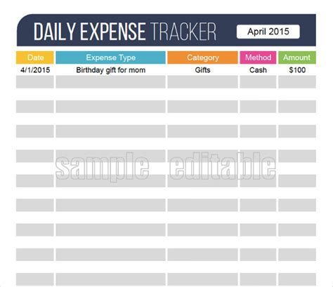 18 expense tracking templates free sle exle