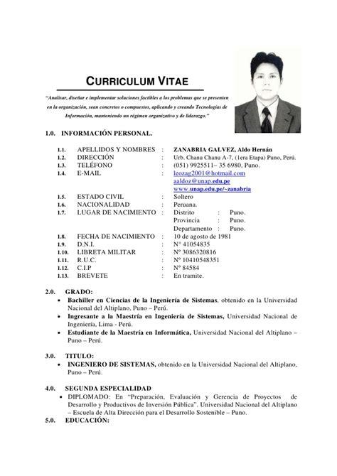 Modelo De Curriculum Vitae En Peru 2012 Modelo De Curriculum Vitae Lima Peru Modelo De Curriculum Vitae
