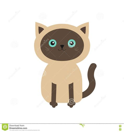 Siamese Cat In Flat Design Style. Cute Cartoon Character