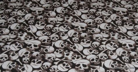Skull Upholstery Fabric by Skulls Bones Catacombs Skull Outsider Pirate Bown