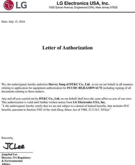 authorization letter undersigned lgsbwac72 rf module cover letter authorization letter lg