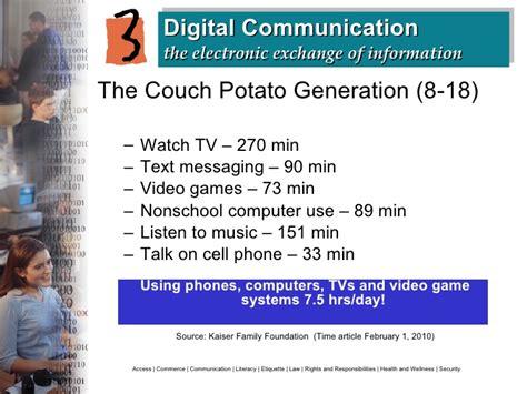 couch potato generation digital citizenship responsible behavior in a digital world