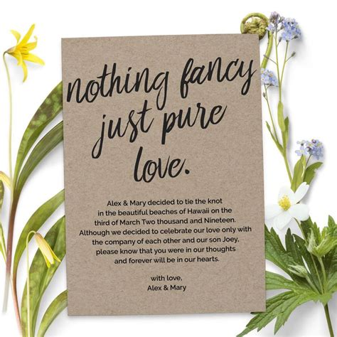 Wedding Announcement Phrases by Nothing Fancy Just Wedding Elopement