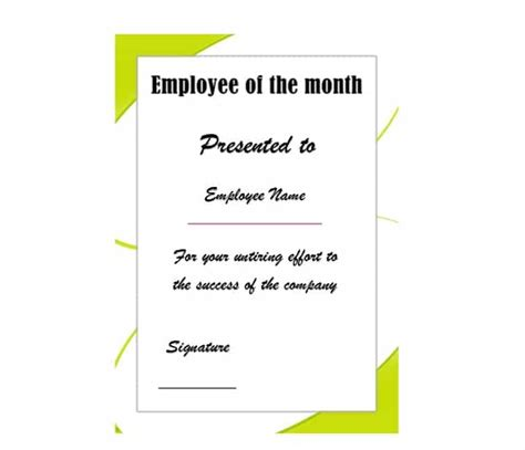 Employee Of The Month Program Template 30 Printable Employee Of The Month Certificates Template Archive