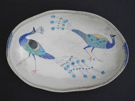 peacock feather oval art glass dish the yew tree gallery morvah galleries in cornwall