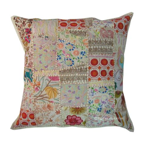 Vintage Patchwork Throw - 24 quot oversized indian vintage patchwork throw cushion cover