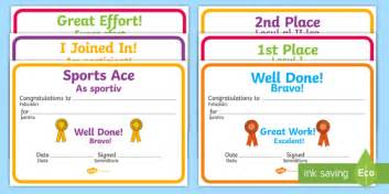 sports day certificate template sports day award certificates sports day