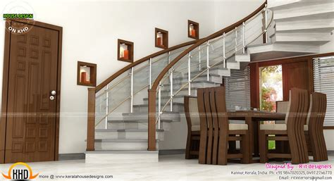 Wash Area Dining Kitchen Interior Kerala Home Design House Interior Design Pictures Kerala Stairs