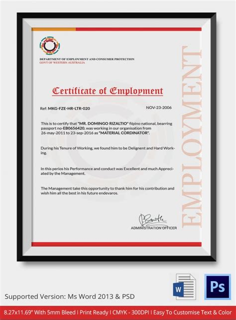 sle of certification of employment