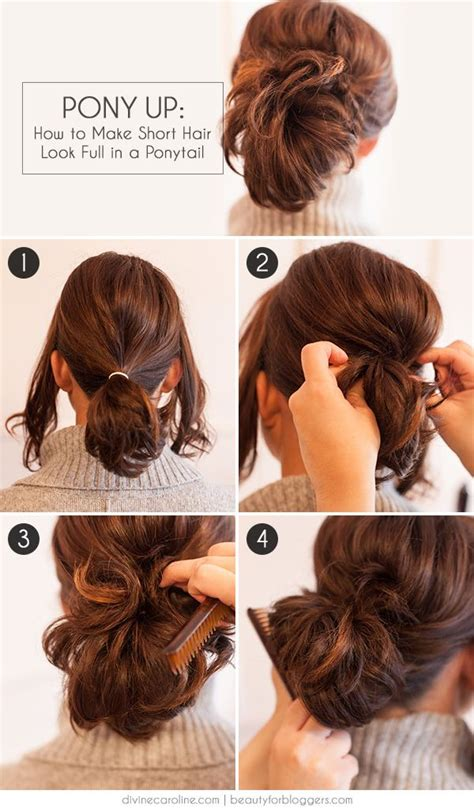 how to put curl into short fine thinninghair over 60 year old pony up how to make short hair look full in a ponytail