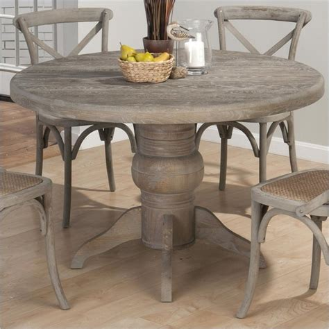 jofran solid oak dining table in burnt grey