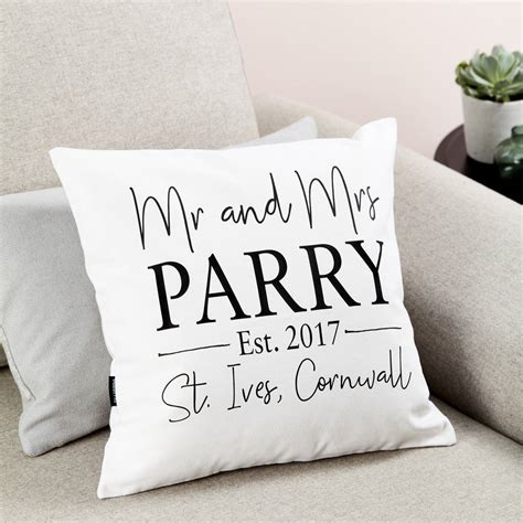 Alised Mr And Mrs Wedding Cushion By Tillyanna