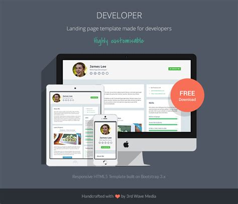 Free Responsive Website Template For Developers Programmer Personal Website Template