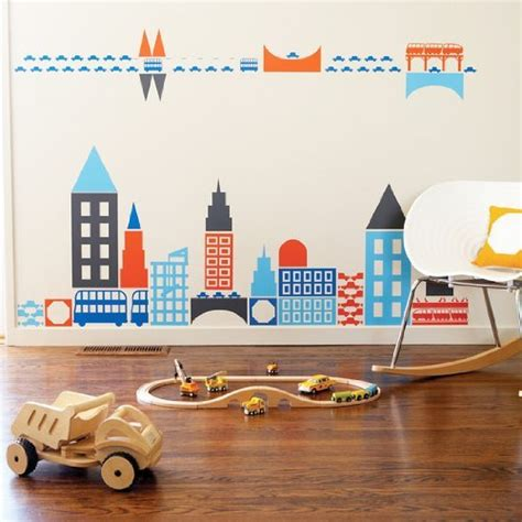 wall stickers city boodalee city wall stickers for modern nursery decor