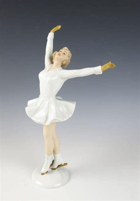 vintage wallendorf lady ice skater porcelain figurine 1438