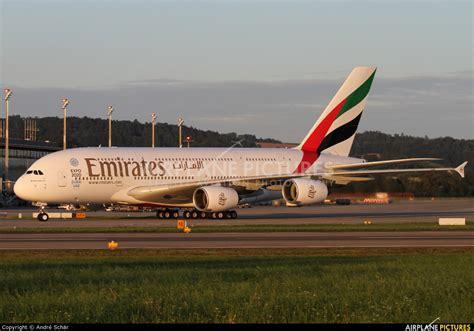emirates zurich a6 eek emirates airlines airbus a380 at zurich photo