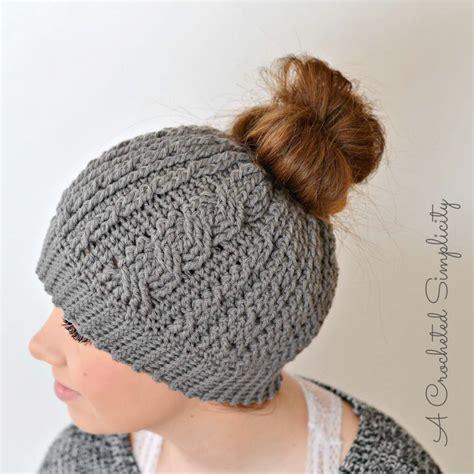 free knitting pattern hair net cabled messy bun hat allfreecrochet com