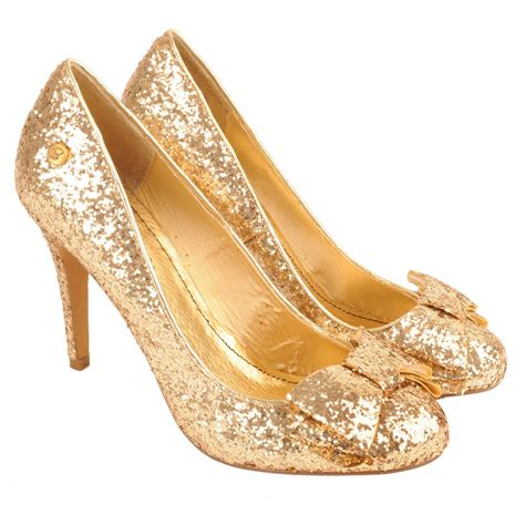Gold Shoes by Blink Gold Kerosene S Glitter Court Shoe