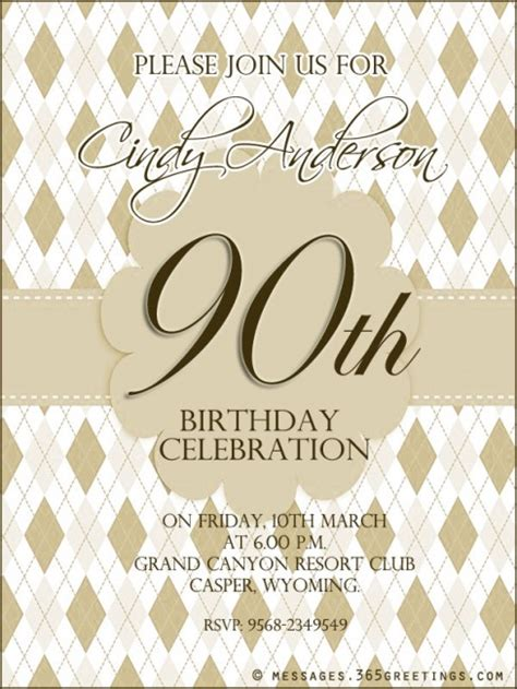 90th birthday invites templates 90th birthday invitation wording 365greetings