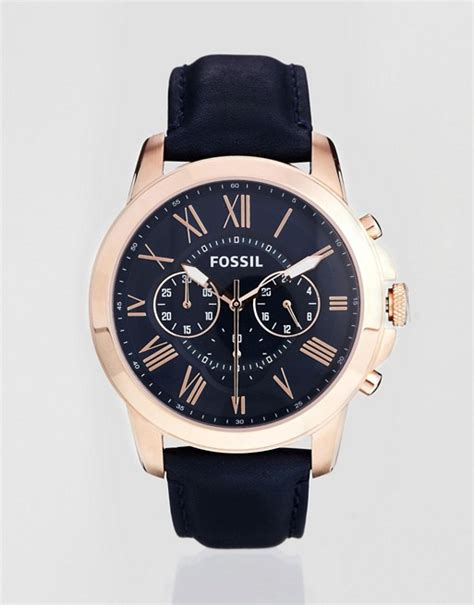 Fossil Fs 4835 Leather Blue Black Grade fossil fossil grant blue leather chronograph fs4835