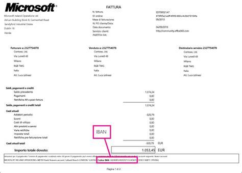 a corrisponde questo iban informazioni sulla fattura per office per le aziende